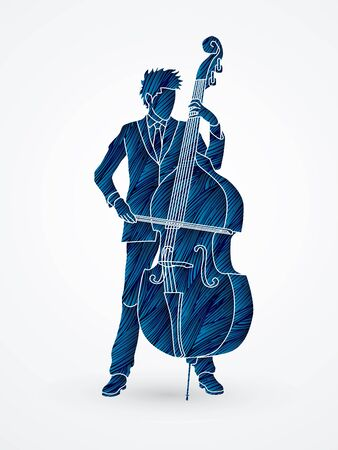 bass player: Double bass player designed using blue grunge brush graphic vector.