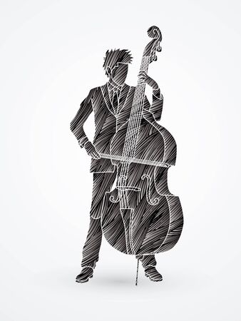 bass player: Double bass player designed using black grunge brush graphic vector. Illustration