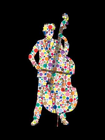 bass player: Double bass player designed using colorful halftone pattern graphic vector. Illustration