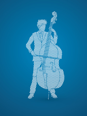 bass player: Double bass player designed using geometric pattern graphic vector.