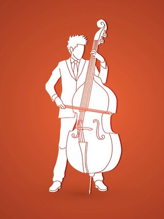 double: Double bass player graphic vector.