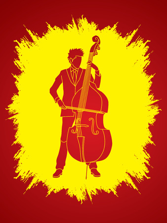bass player: Double bass player designed on grunge frame background graphic vector.