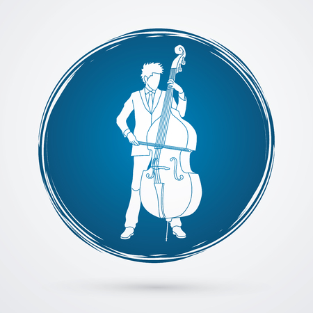 Double bass player designed on grunge circle background graphic vector.