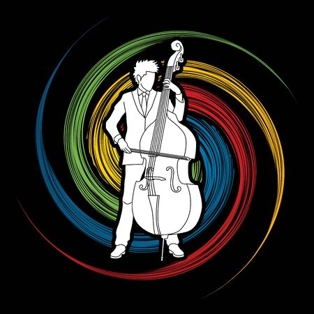 Double bass player designed on spin wheel background graphic vector.