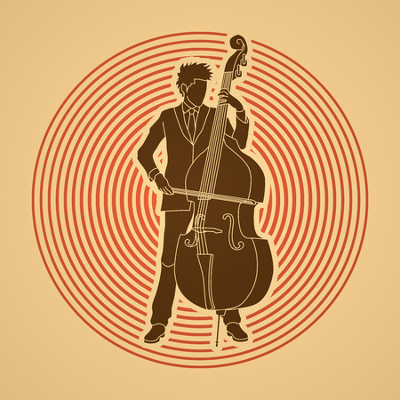 bass player: Double bass player designed on circle light background graphic vector. Illustration