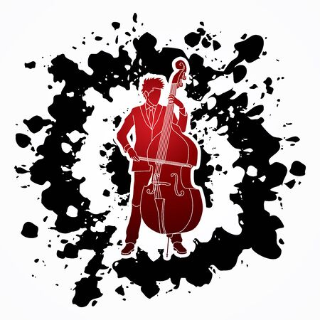 bass player: Double bass player designed on splatter ink background graphic vector.