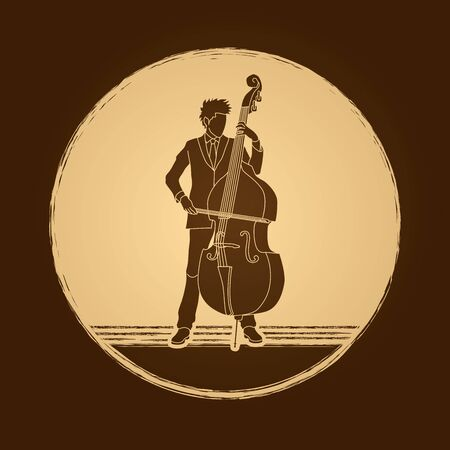 bass player: Double bass player designed on grunge circle background graphic vector.