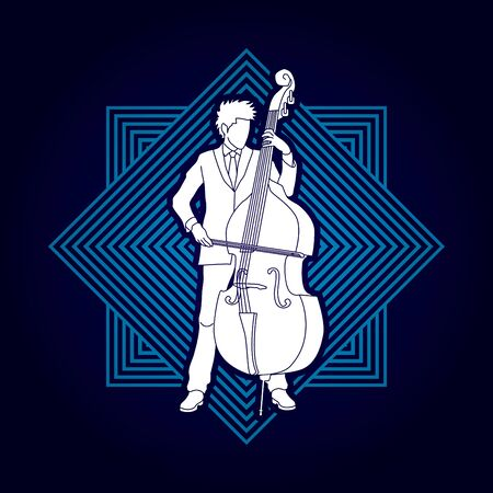 bass player: Double bass player designed on line square background graphic vector. Illustration