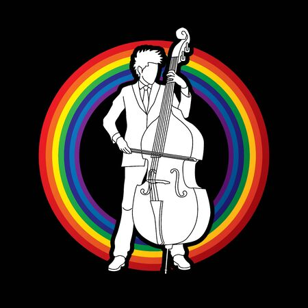 double bass: Double bass player designed on rainbows background graphic vector.