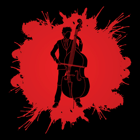 bass player: Double bass player designed on spatter blood background graphic vector.