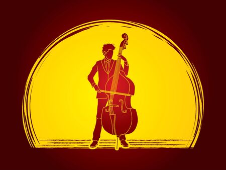 bass player: Double bass player designed on moonlight background graphic vector. Illustration
