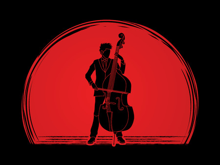 bass player: Double bass player designed on sunset background graphic vector.