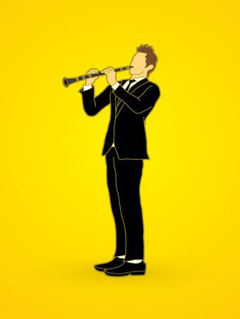 clarinete: clarinetista gráfico vectorial.