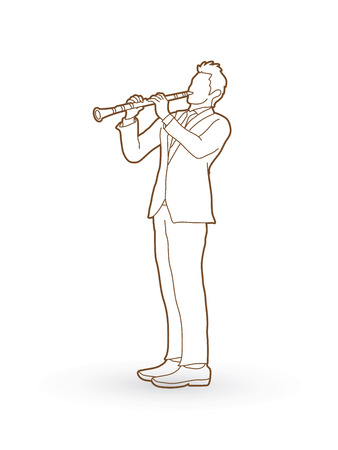 Clarinet player outline graphic vector. Illustration
