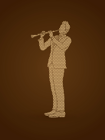 Clarinet player designed using geometric pattern graphic vector.