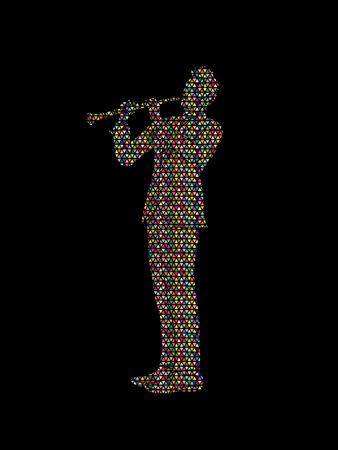 clarinete: clarinetista diseñado utilizando el patrón de mosaico de colores de gráficos vectoriales.
