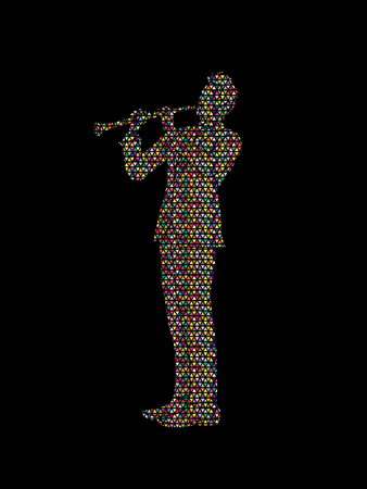Clarinet player designed using colorful mosaic pattern graphic vector.