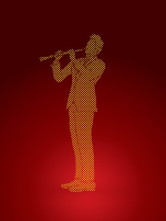 Clarinet player designed using dots pixels graphic vector.