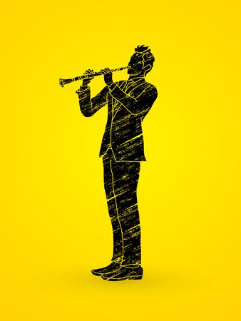 instrumental: Clarinet player designed using grunge brush graphic vector. Illustration