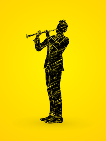 Clarinet player designed using grunge brush graphic vector. Illustration