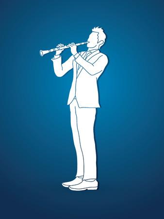 clarinet: clarinetista gráfico vectorial.