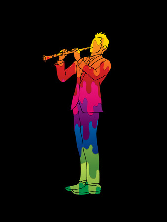 clarinet player: Clarinet player designed using melt colors graphic vector.