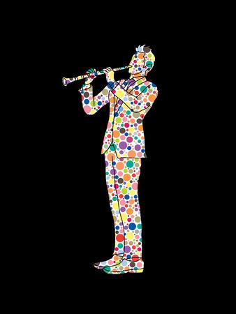 clarinete: clarinetista diseñado utilizando colorido patrón de medios tonos de gráficos vectoriales.