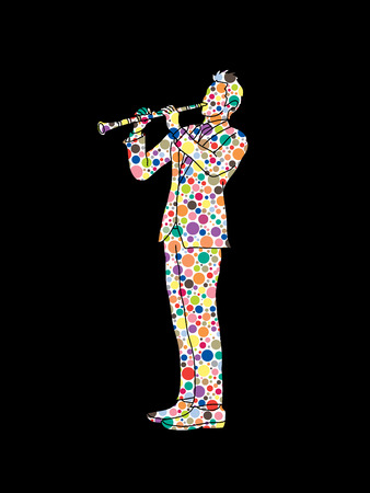 Clarinet player designed using colorful halftone pattern graphic vector.