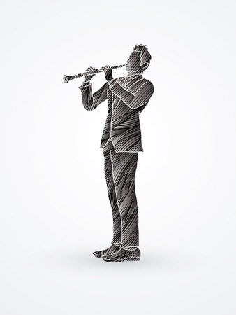 Clarinet player designed using black grunge brush graphic vector.