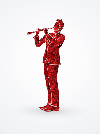 Clarinet player designed using red grunge brush graphic vector. Illustration