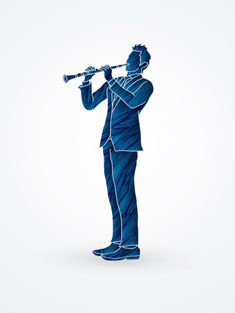 Clarinet player designed using blue grunge brush graphic vector. Illustration