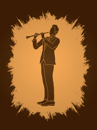 oboe: Clarinet player designed on grunge frame background graphic vector.