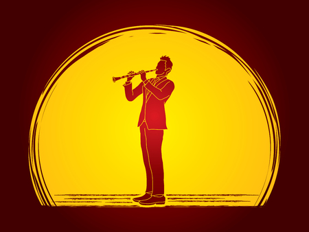 Clarinet player designed on moonlight background graphic vector. Illustration