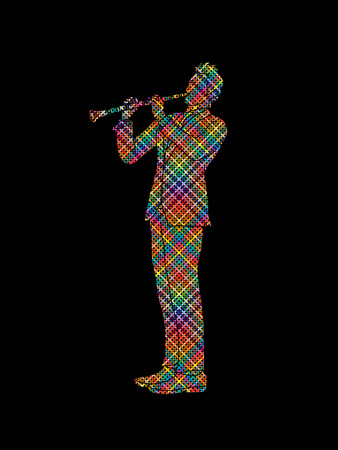 clarinet player: Clarinet player designed using colorful pixels graphic vector.