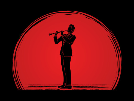 clarinet player: Clarinet player designed on sunlight background graphic vector.