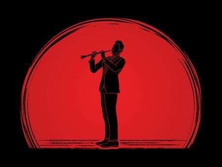 clarinete: clarinetista diseñado en el fondo la luz del sol gráfico vectorial. Vectores