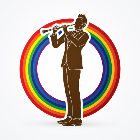 Clarinet player designed on rainbows background graphic vector.