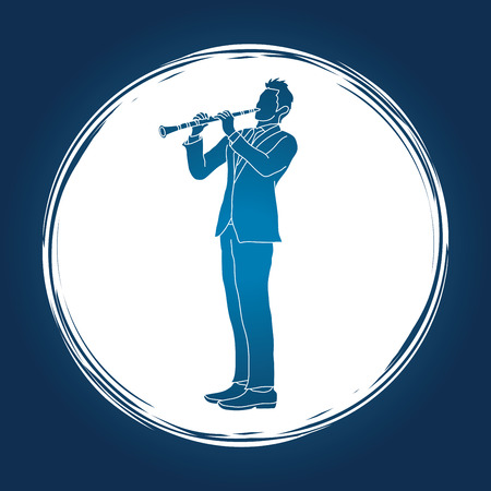 Clarinet player designed on grunge cycle background graphic vector. Illustration