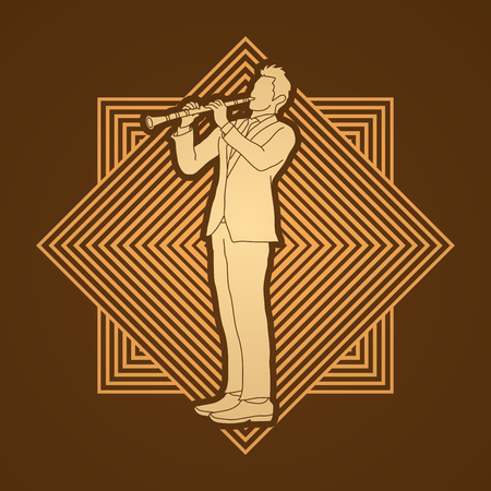 clarinet player: Clarinet player designed on golden line square background graphic vector.