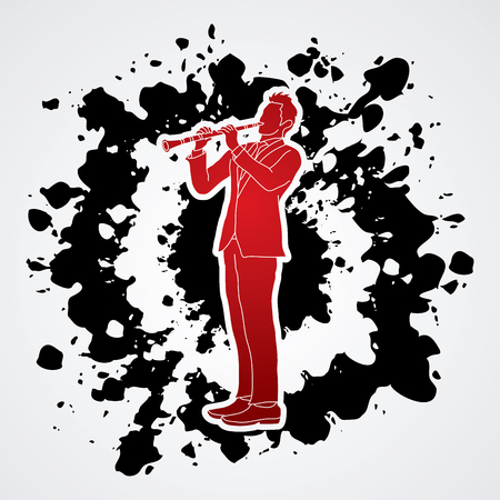 clarinet player: Clarinet player designed on splatter ink background graphic vector.