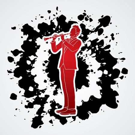 oboe: Clarinet player designed on splatter ink background graphic vector.