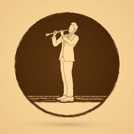 clarinet player: Clarinet player designed on grunge circle background graphic vector. Illustration