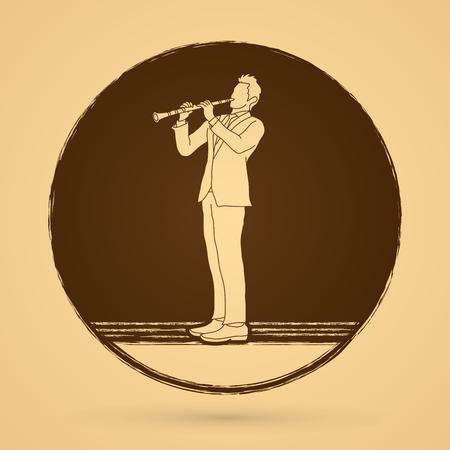 clarinete: clarinetista diseñada en el círculo de fondo grunge gráfico vectorial.