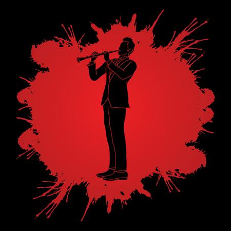 oboe: Clarinet player designed on splatter blood background graphic vector. Illustration
