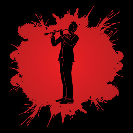 Clarinet player designed on splatter blood background graphic vector. Illustration