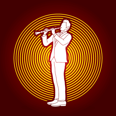 clarinet player: Clarinet player designed on circle light background graphic vector. Illustration