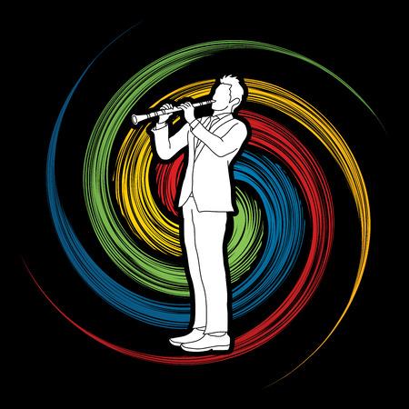 clarinete: clarinetista diseñado en el fondo giro de la rueda de gráficos vectoriales. Vectores