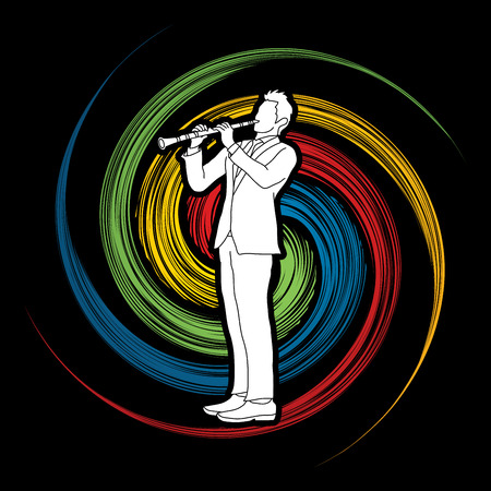 Clarinet player designed on spin wheel background graphic vector.