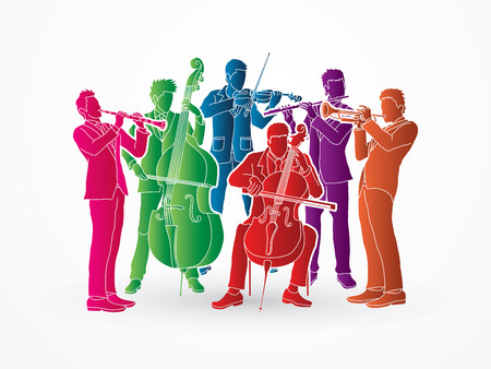 clarinet player: Orchestra player design using colorful graphic vector