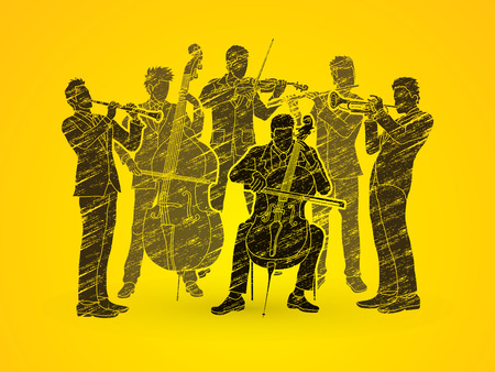 cellos: Orchestra player design using black grunge brush graphic vector